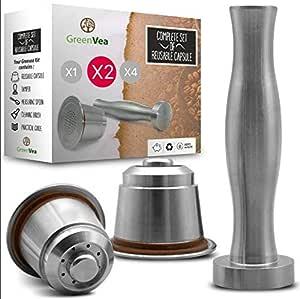 ☕ Greenvea - Juego completo de cápsulas de café Nespresso Cápsulas de acero inoxidable para café y té. Rellenables, Recargables, Reutilizables. (2 cápsulas, támper, guía y Cuchara medidora)