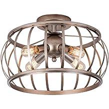 "Alice House Ceiling Light 18"" Vintage Industrial Rustic Semi-Flush Mount Lamp T45 Edison Bulb E26 Socket Lantern Cage Lighting Fixture for Barn,Bedroom, Entry, Kitchen, Dining Room"