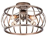 Alice House Ceiling Light 18″ Vintage Industrial Rustic Semi-Flush Mount Lamp T45 Edison Bulb E26 Socket Lantern Cage Lighting Fixture for Barn,Bedroom, Entry, Kitchen, Dining Room
