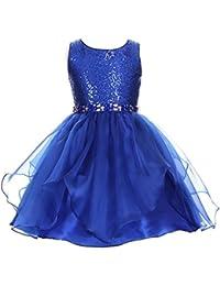 Little Girls Royal Blue Sequin Organza Rhinestone Christmas Dress 2-6