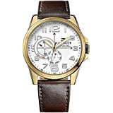 Tommy Hilfiger Gold-Tone Leather Chronograph Mens Watch 1791003