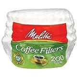 MELITTA Super Premium White Basket Paper Filters, Coffee Filters, Replacement Filters, Coffee Filter Makers, 200 Count