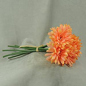 Mini Imitation Silk Salmon Daisy Bouquets- for Weddings, Parties, and Decor- 3 Bouquets with 6 Blooms Each a Total of 18 Blooms 120