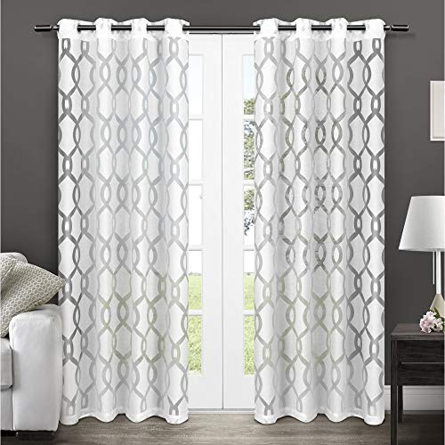 Exclusive Home Curtains Rio Burnout Sheer Window Curtain Panel Pair with Grommet Top, 54x108, Winter White, 2 Piece