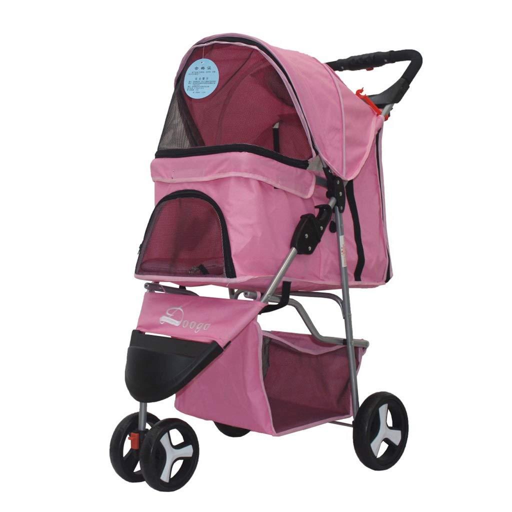 PINK EDYUCGA Pet Stroller Dog Cat Teddy Cart Three Wheel Lightweight Foldable Pet Travel Cart 67  47  100cm (LWH) (color   PINK)