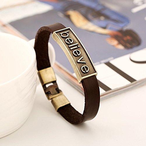 CHOA Vintage Believe Self-Confident Leather Bracelet and I Love Jesus Adjustable Punk leather Bracelet (BELIEVE) by CHOA (Image #3)