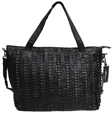 Iblue Womens Lambskin Leather Shopper Tote Handbag Satchel Messenger Bag 15.3in #129 (black) - Lambskin Leather Tote Bag