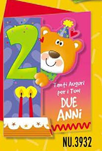 Tarjeta Felicitación cumpleaños animalotti 2 años con oso ...