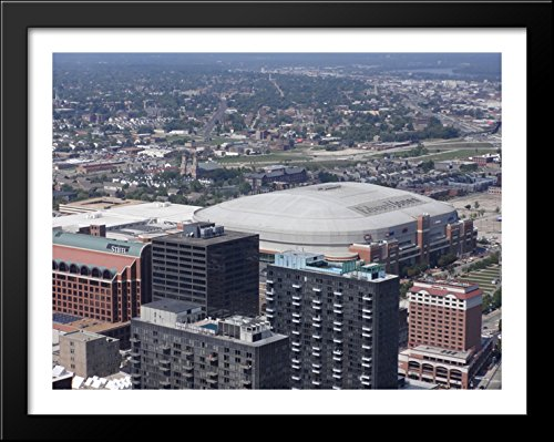 Edward Jones Dome 36x28 Large Black Wood Framed Print Art - Home of the St. Louis Rams by ArtDirect