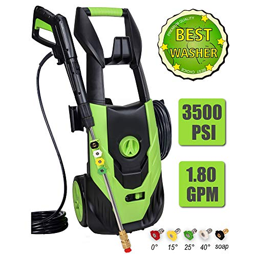 PowRyte Elite 3500 PSI 1.80 GPM Electric Power Washer with 5 Quick-Connect Spray Tips, Portable Car Wash Machine