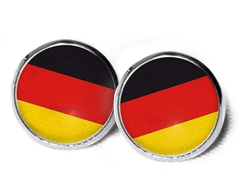 Deutschland Ohrstecker Ohrringe Deutschland Flagge 12mm