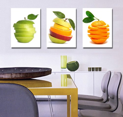 Spirit Canvas Art - Spirit Up Art Huge Tasty Fruits Picture Painting on Canvas Print Stretched and Framed, Modern Home Decorations Wall Art set of 3 Each is 40*60cm #cy-561