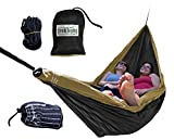 Trek Light Gear Double Hammock with Rope Kit - The Original Brand of Best-Selling Lightweight Nylon Hammocks - Use for All Camping, Hiking, and Outdoor Adventures {Black/Gold}