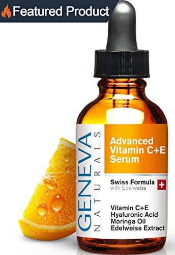 Vitamin C Serum - Natural Swiss Anti-Aging Formula Features Vitamin C+E, Hyaluronic Acid, Moringa Oil and Edelweiss Extract for Men and Women