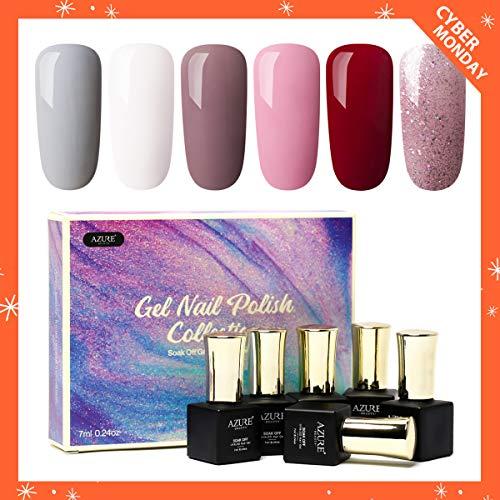 AZUREBEAUTY Gel Nail Polish Set - Nude Series 6 Colors Nail Art Gift Box, Soak Off UV LED Gel Polish Kit