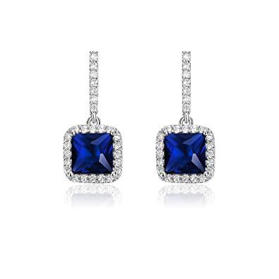 b37c125ff Women Square Shaped CZ Dangle Drop Earrings, Square Cubic Zirconia Earrings  for Girls Women (Blue): Amazon.co.uk: Jewellery