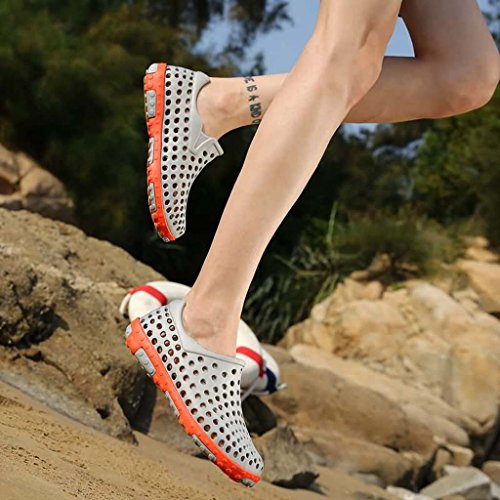 ZXCV Zapatos al aire libre El agujero del agujero del verano de los hombres calza los zapatos ocasionales respirables al aire libre del color puro Gris