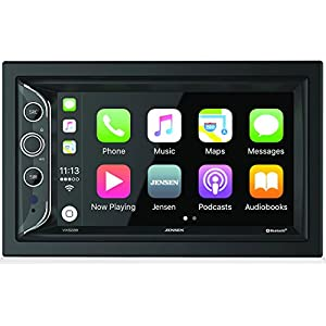 "Jensen VX5228 6.2"" LED Backlit LCD Digital Multimedia Touch Screen Double DIN Car Stereo with Built-In Apple CarPlay, Bluetooth & USB Port"