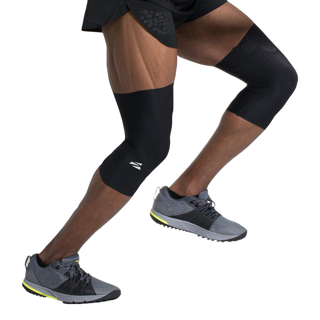ENERSKIN E75 FDA Approved Graduated Medical Grade mmHg Knee Compression Sleeves with Kinesiology Muscle Mapping (Black, Size Large)