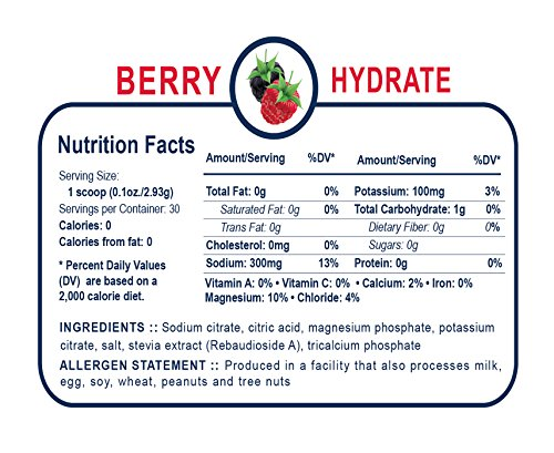 UCAN Hydrate Electrolyte Drink Mix Jar, Berry, No Sugar, Zero Calories, 0.1 Ounces, 30 Servings