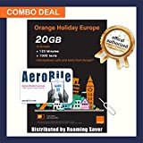 Orange Holiday - Europe Prepaid SIM Combo Deal 20GB Internet Data in 4G/LTE (Data tethering Allowed) + 120-min Calls+ 1000 Texts from Europe to Any Country Worldwide
