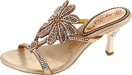Salabobo Womens Fashion Slippers Sexy Wedding Bride Bridemaid Dress Party Show Rhinestone Leather Sandals T005 Gold jwcNND