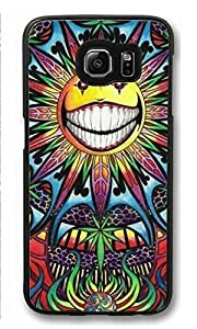 S6 Case, Galaxy S6 Case, Psychedelic Marijuana Art Sun Customized Hard Plastic Black Protective Case Cover for Samsung Galaxy S6 ONLY