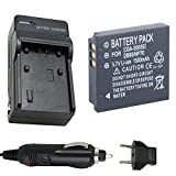 Battery and Charger for Panasonic Lumix DMC-FS1, DMC-FS2, DMC-FX1 Digital Camera