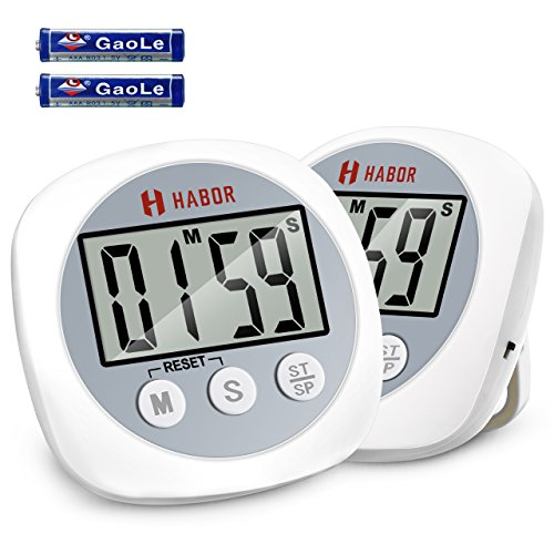 Habor Digital Kitchen Timer, (2 Pack) Cooking Timers Big Digits Loud Alarm Magnetic Backing Stand Simple Operation, Count Up/Down Timer For Cooking Baking Exercise Beauty White/Grey (Battery Included)