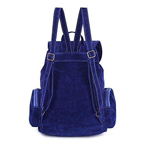 Rucksack Travel Shoulder Handbag Retro Bag Mioim BLUE Fringe Backpack Vintage Casual PU Mini Tassel Womens SAPPHIRE wqOWx1A4f