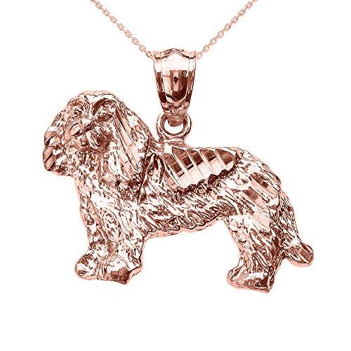 Collier Femme Pendentif 14 Ct Or Rose Diamant Coupe Roi Charles Spaniel (Livré avec une 45cm Chaîne)