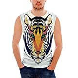 Tiger100% Heavy Cotton H D Tank,Green Eyed Large Cat with Geometrical Shapes in