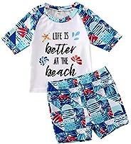Cinna-Stir Toddler Baby Boy Swimsuit Letter Printed Sunsuit Beach Tropical Flower Short Pants Swimwear
