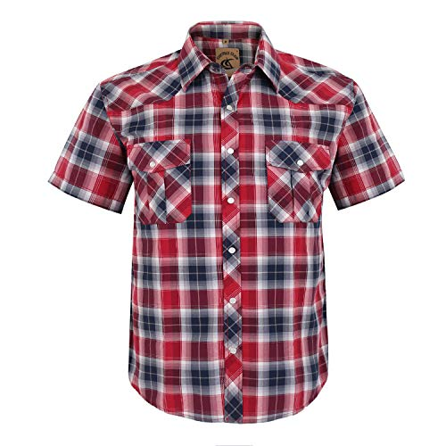 Coevals Club Men's Button Down Plaid Short Sleeve Work Casual Shirt (Red Black #24, L)