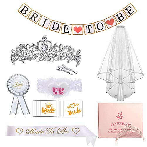 Kyerivs Bachelorette Party Decorations Bride to be Kit Bridal Shower Supplies Bride Sash, Rhinestone Tiara Crown, Tattoos, Bride Garter, Bride Banner,Rosette Badge Party Veil with Comb Bridal kit (Fun Places To Have A Bridal Shower)