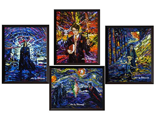 Uhomate 4 pcs Severus Snape Harry Potter Always Dobby Poster Vincent Van Gogh Starry Night Posters Home Canvas Wall Art Anniversary Gifts Baby Gift Nursery Decor Living Room Wall Decor - Harry Frames Potter