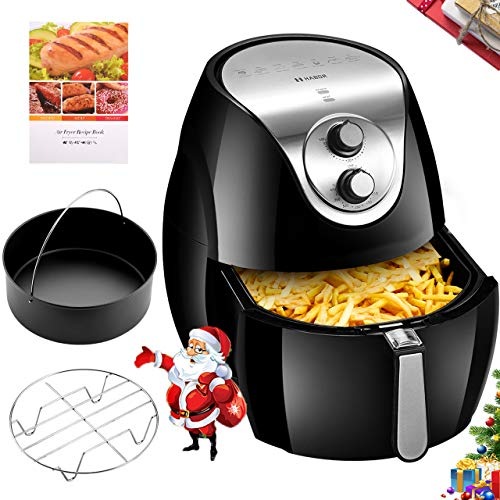 Habor 7.4QT Air Fryer with Accessories (Metal Holder, Nonstick Cake Barrel), Oilless XXL Air Fryer Oven for Whole Chicken, Temp and Time Control, Dishwasher Safe, Memory Function, Recipes Included