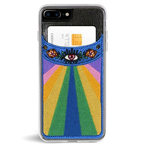 Embroidered Case Phone (Zero Gravity Wallet Case Compatible with iPhone 7 Plus/iPhone 8 Plus - Element - Embroidered Design, Card Slot - 360° Protection, Drop Test Approved)