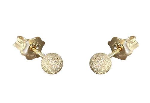 Ohrringe Stecker Kugel 3 mm Weißgold 585 14 karat Damen Ohrstecker Gold Neu Gold