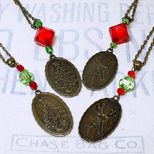 Antique Bronze Holiday Necklace with Reversible Reindeer and Christmas Tree - December Weird Holidays