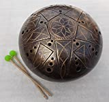 """12"""" Steel Tongue drum 10 notes (Glukofon, Handpan, Hand drum, Tankdrum, Hank drum) Tuned in A-minor (we can produce in any tuning and with any notes, at your request in 1-3 days). By default we make """"A Minor"""": A3 C4 D4 E4 G4 A4 C5 D5 Also, these musi..."""