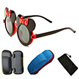 Kid Cute Colored Mouse Ears Flip Up Sunglasses Clear Blk Lens Mickey Minnie Bow