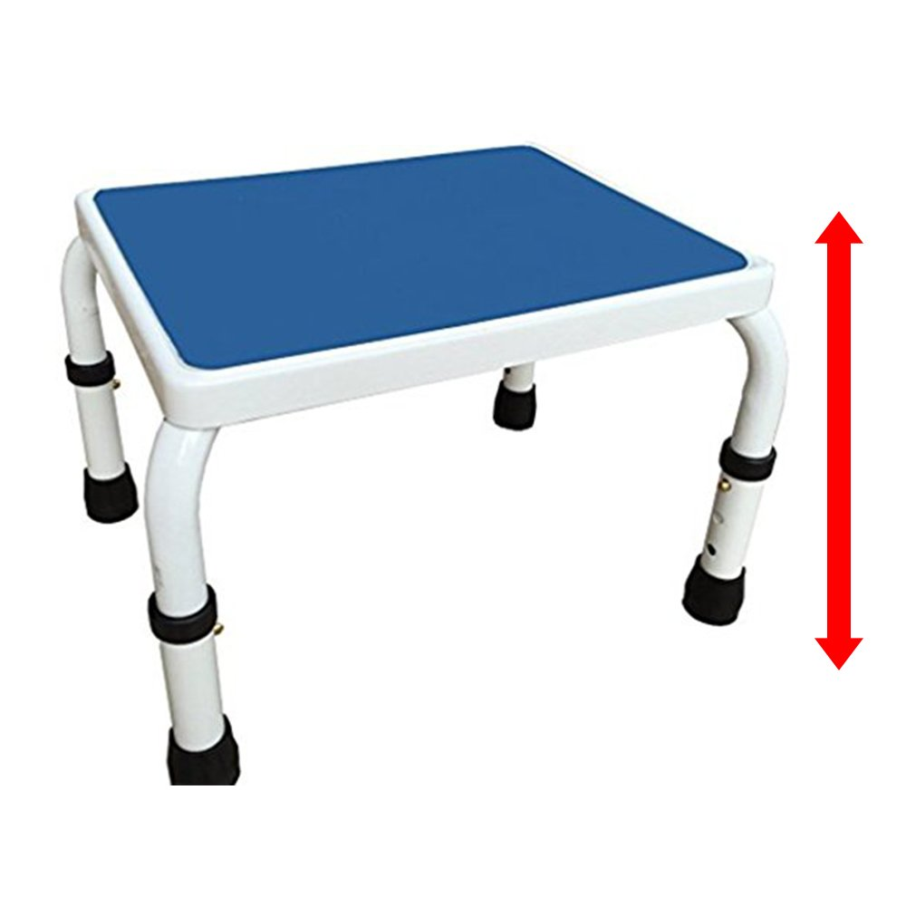 AdjustaStep Height Adjustable Step Stool- All Steel Construction, Anti-Slip Foot Pads and Platform. Modern White and Blue Finish