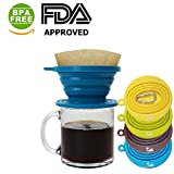 Kuke Reusable Silicone Coffee Dripper with Hook,Collapsible Coffee Filter Holder, Food Grade Tea Filter Cone(Blue)