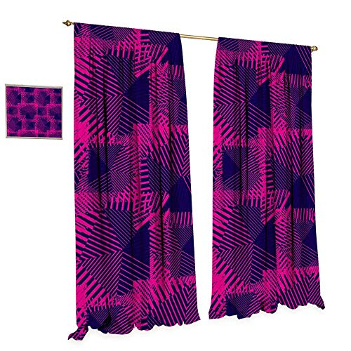 cobeDecor Magenta Thermal Insulating Blackout Curtain Trippy Zip Style Mix Pattern with Dark Color Effects and Diagonal Linked Lines Patterned Drape for Glass Door W84 x L84 Fuchsia Purple (Zip Nouveau Back)