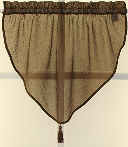 (Starlight Semi-Sheer Privacy Voile Ascot Valance 40Wx25L-Chocolate)