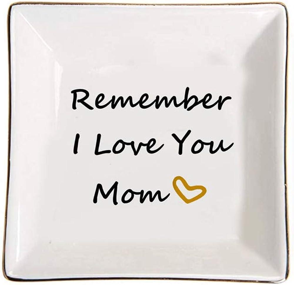 CHOOLD Remember I Love You Mom Square Shape Ring Holder Jewelry Dish Trinket Holder Home Decor Dish Birthday Xmas Gift