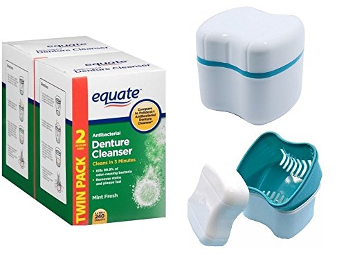 Denture Cleaner Tablets Equate Antibacterial Fresh Mint 240 count With Denture Retainer Cleaning Cup Case Bath With Basket Lid