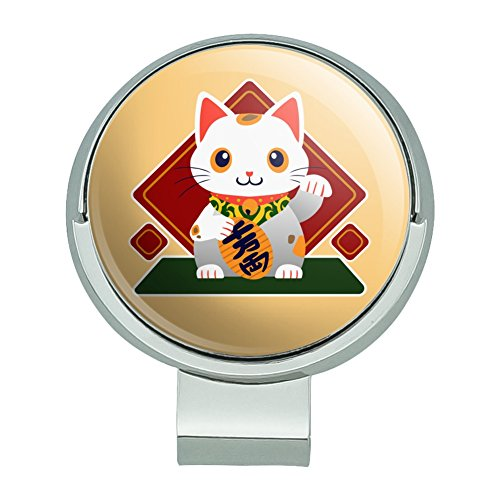 GRAPHICS & MORE Cute Lucky Cat Maneki-Neko Golf Hat Clip with Magnetic Ball Marker