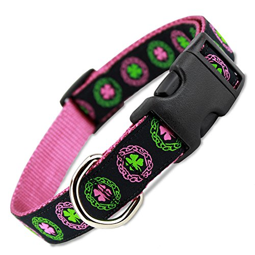 The Artful Canine Irish Dog Collar with Celtic Knots on Pink Nylon, Large Dogs 35-60lbs (Collar: 1